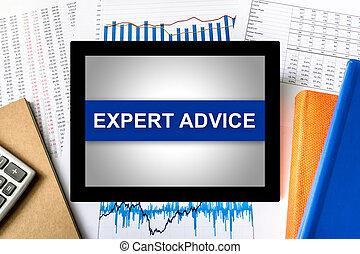 consejo, palabra, experto, tableta