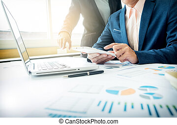 conselheiro, figuras financeiras, negócio, companhia, trabalho, denoting, analisando, progresso