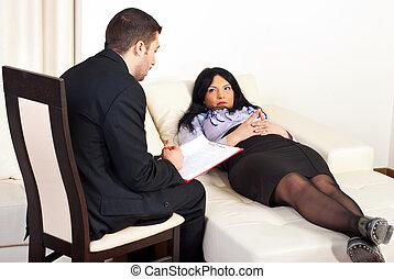 conselho, mulher, paciente, psiquiatra