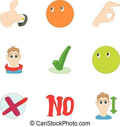Consent and refusal icons set, cartoon style