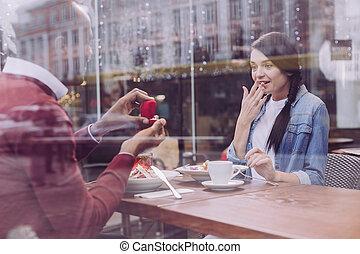 consentir, proposition, femme, stupéfié, surpris