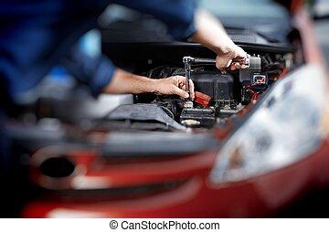 conserte garagem, mecânico, trabalhando, automático