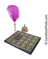 conserte sino, visitante, caneta, livro, feathered