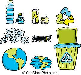 conservação ambiental, /, reciclagem, jogo