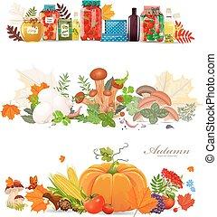 conserva, alimento, colección, mushrooms., otoño, harv, ...