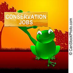 conservación, trabajos, señal, exposiciones, preservación, 3d, ilustración