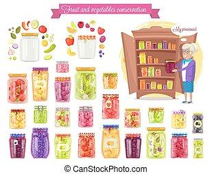 conservación, vector, ilustración, fruta