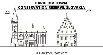 conservación, -, vector., pueblo, famoso, bardejov, panorama, señal, reserva, viaje, lineal, ilustración, contorno, eslovaquia