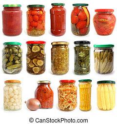 conservado, selección, vegetales, vidrio, vario, tarros