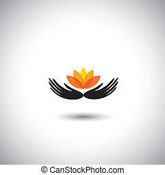 conservar, concepto, -, ambiente, vector, flor, manos,...