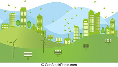 conservation., 風, panels., 環境, 概念, 太陽, ジェネレーター, 再生可能エネルギー, 生態学的, 町
