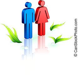 conservation environnementale, arrière-plan vert, gens