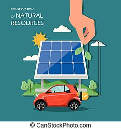 Conservation of natural resources vector flat illustration