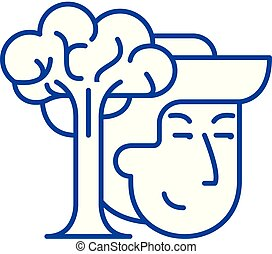 Conservationists line icon concept. Conservationists flat...