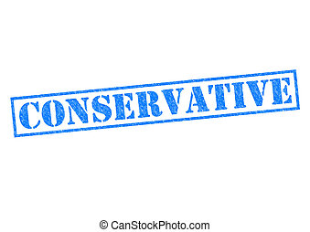 CONSERVATIVE blue Rubber Stamp over a white background.