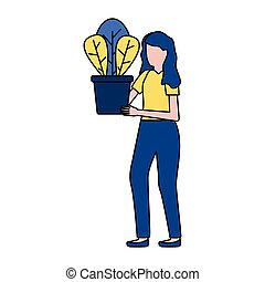 conservato vaso, donna, pianta, presa a terra