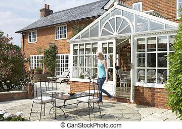 conservatoire, patio, extérieur, maison