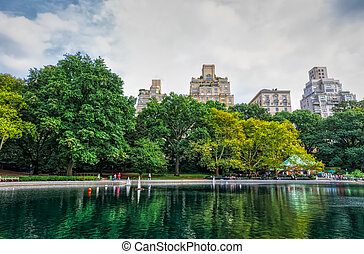 Conservatory Water pond in the Central Park, New York