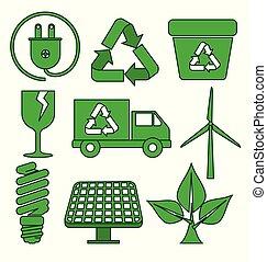 conservazione, set, ecologia, protezione, elemento