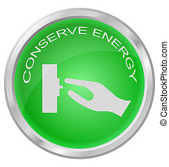 Conserve Energy button isolated on white background