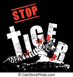 Conserve the tiger concept vector