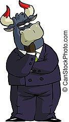 considerado, caricatura, touro, financeiro