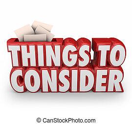 considerar, cosas, consejo, 3d, importante, palabras, antes, de arranque, rojo, recordar