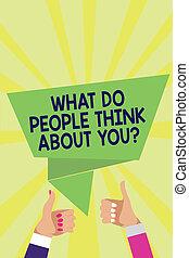 considerations, concepto, gente, texto, otros, pulgares, ...