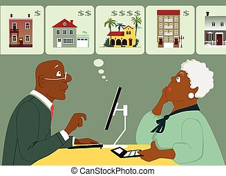 Elderly black couple sitting with a computer and calculator, considering different housing options, Vector illustration, no transparencies, EPS 8