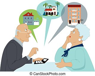 Elderly couple sitting with a calculator, considering different housing options, Vector illustration, no transparencies, EPS 8, isolated on white