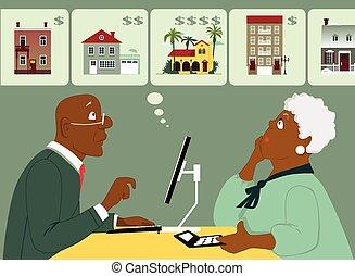 Considering senior housing options - Elderly black couple...