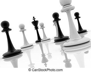 consigliare, pezzo, scacchi, comportamento, strategico