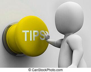 consiglio, bottone, punte, mostra, guida, hints