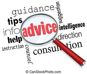 consiglio, lente ingrandimento, parole, guida, punte, aiuto,...