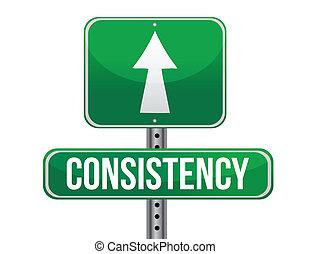 consistance, conception, route, illustration, signe