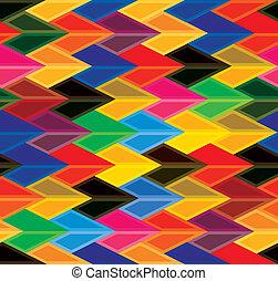 consiste, colorido, shapes-, vario, hues, colores, seamless, vector, y, verde, graphic., amarillo, dardo, flechas, formas, rosa, azul, rojo, resumen, repetitivo, naranja, plano de fondo, ilustración, marrón, como, esto