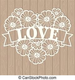 consiste, coração, modelo, flores, laser, renda, vetorial, ...