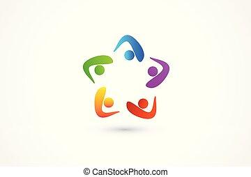 consoci, abbraccio, persone affari, unità, lavoro squadra, logotipo, amicizia