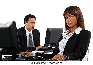 consoci, computer, affari, lavorativo