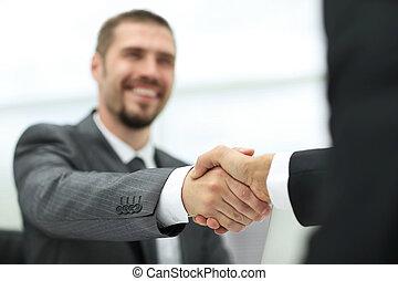 consoci, .handshake, closeup, affari, scrivania
