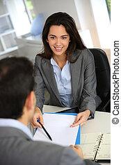 consoci, riunione, contratto, affari, firma