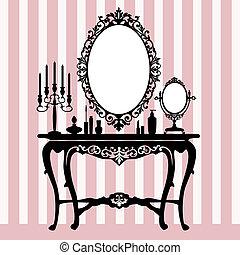 consola, aliño, candelabros, retro
