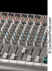 console, channels., sliders, mélange, boutons, audio