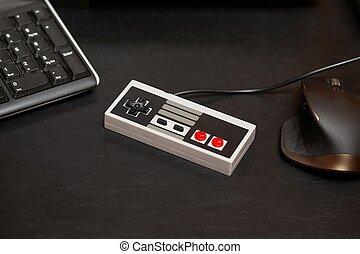 console, contrôleur, jeu, vieux
