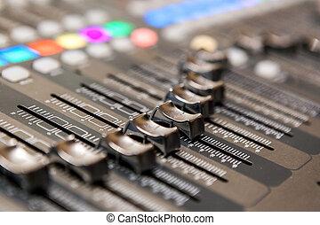 console, equipment., opnamestudio, vermenging, professioneel, audio