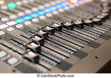 console, equipment., studio enregistrement, mélange, professionnel, audio