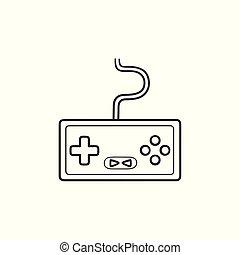 console, esboço, doodle, mão, jogo, desenhado, icon.