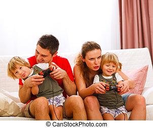 console, famille, dépenser, ensemble, temps, maison, jouer
