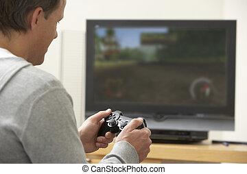 console jogo, tocando, homem