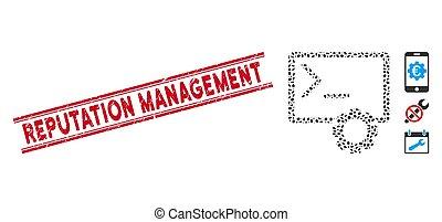 console, ligne, administration, collage, réputation, cachet, grunge, gestion, icône